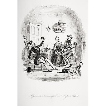 Affectionate Behaviour Of Messrs Pyke & Pluck Illustration From The Charles Dickens Novel Nicholas Nickleby By HK Browne Known As Phiz PosterPrint