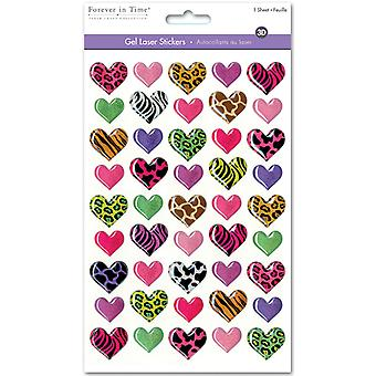 MultiCraft 3D Gel Foil Stickers-Fashion Hearts SS057C