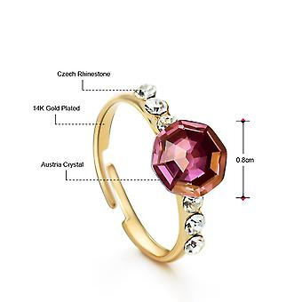 14K Gold Plated Purple Adjustable Crystal Ring