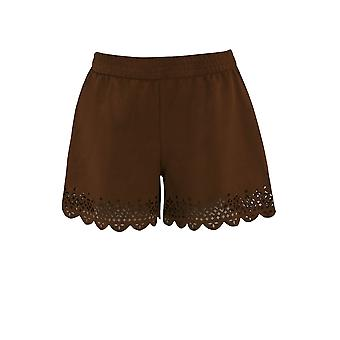 Ex Monsoon Suedette Girls Shorts With Laser Cut Hem