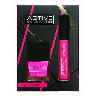 Active Active Cosmetics The Twin Set Nail Varnish And Lip Gloss