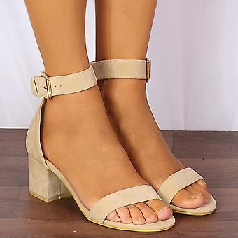 Shoe Closet Ladies Fr11a Nude Barely There Low Heeled Peep Toes Strappy Sandals