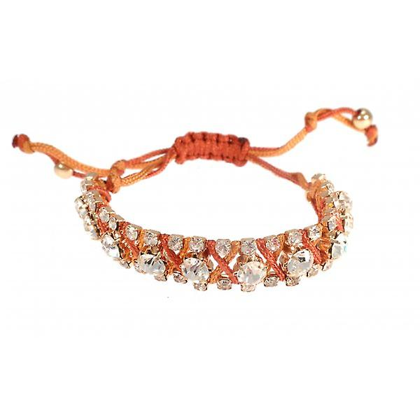 W.A.T Orange Macrame Cord And Crystal Friendship Bracelet
