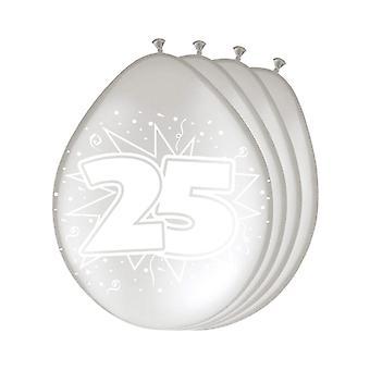 風船 8 個数 25 銀銀の結婚式記念日バルーン