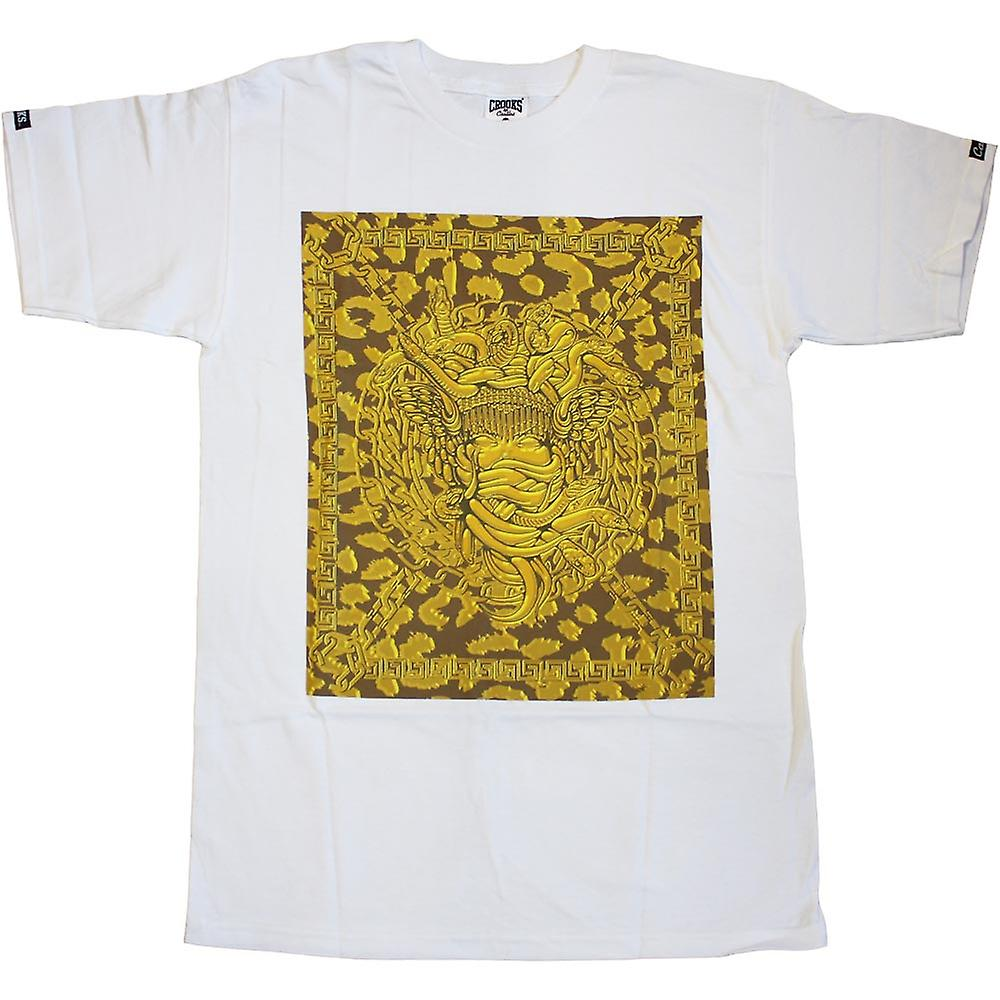 Crooks & Castles Square Medusa Crooks T-Shirt White Gold