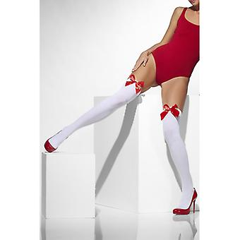 White stockings with red bow