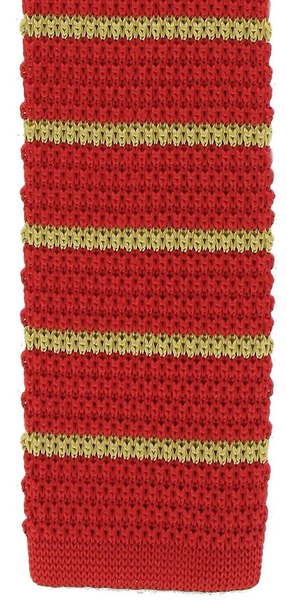 Michelsons of London Silk Knitted Striped Skinny Tie - Red/Yellow