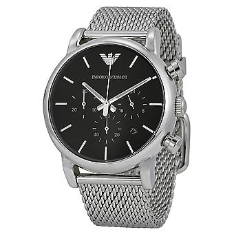 Emporio Armani AR1811 Stainless Steel Mesh Strap Black Dial Chronograph Watch