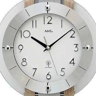 AMS 5282 wall clock radio with pendulum wooden case mineral glass
