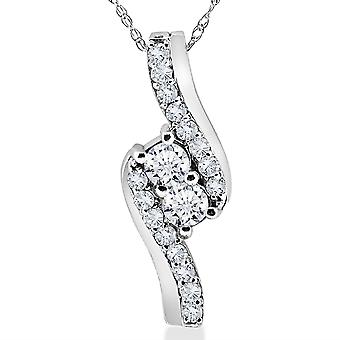 3/4CT Forever Us Two Stone Diamond Pendant 10K White Gold