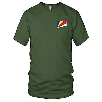 Seychelles Country National Flag - Embroidered Logo - 100% Cotton T-Shirt Ladies T Shirt