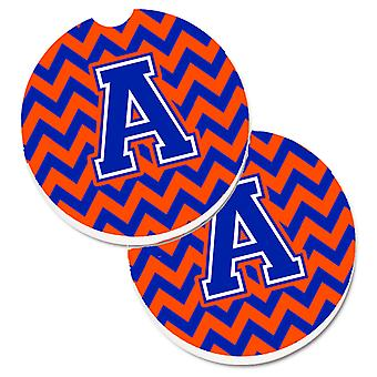 Letter A Chevron Orange and Blue Set of 2 Cup Holder Car Coasters