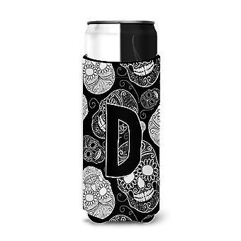Letter D Day of the Dead Skulls Black Ultra Beverage Insulators for slim cans