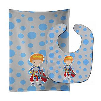 Carolines Treasures  BB8744STBU Ginger Boy Knight Baby Bib & Burp Cloth