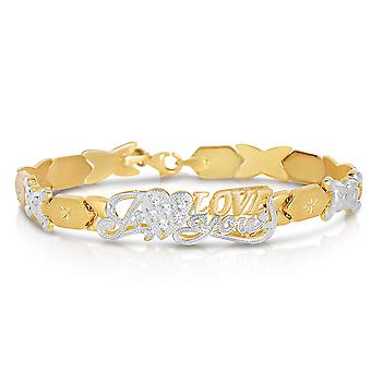 """Floreo 10k Two-Tone Gold Stampato Xoxo Hugs and Kisses with Bear and Heart  """"I Love You"""" ID Bracelet"""
