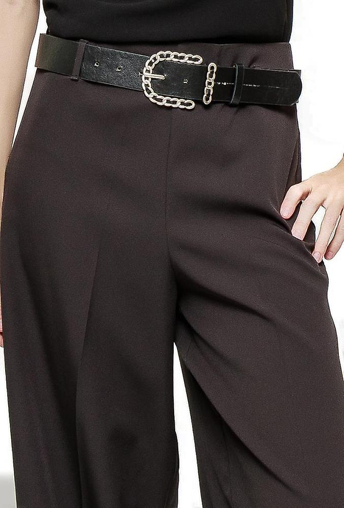 High Rise Wide Flared Trousers - Black
