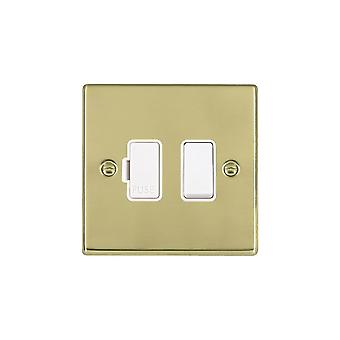 Hamilton Litestat Hartland Polished Brass 1g 13A DP Fused Spur WH/WH