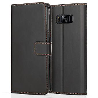 Samsung Galaxy S8 Plus Leather Effect Stand Wallet Case - Black