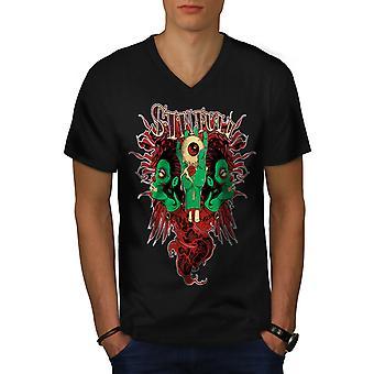 Horror Living Dead Men BlackV-Neck T-shirt   Wellcoda