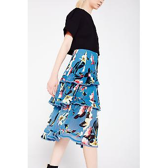 Foxie Dox Floral Print Midi Skirt With Frill Detail