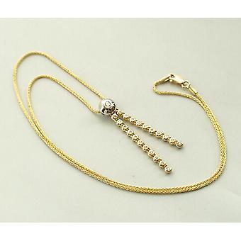 Bicolor gold necklace diamond pendant