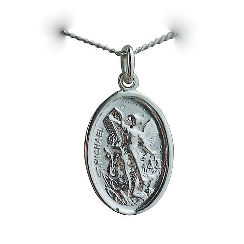 Silver 21x15mm oval St Michael Pendant with a curb Chain 20 inches
