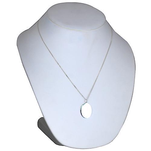 Silver 27x21mm diamond cut edge oval Disc with a curb Chain 22 inches