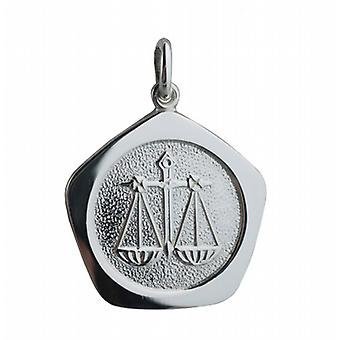 Silver 21mm five sided Libra Zodiac Pendant