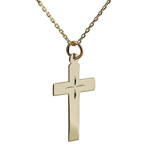 9ct Gold 24x14mm Star cut flat Latin Cross with Cable link chain