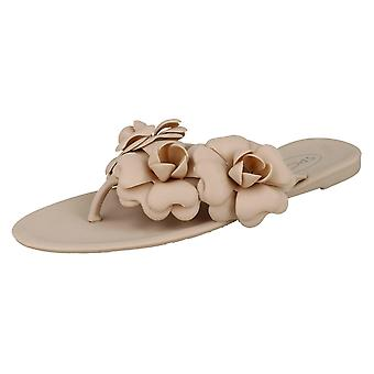 Ladies Spot On Flat Jelly Toepost Sandals F00119