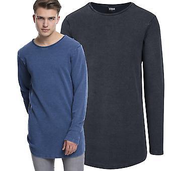Urban classics - acid washed long sleeve shirt extra long