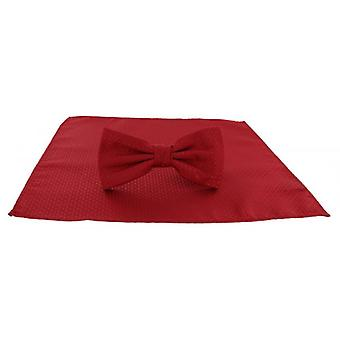 Michelsons of London Semi Plain Bow Tie and Pocket Square Set - Red