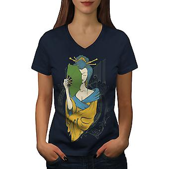 Girl Asia Japan Women NavyV-Neck T-shirt | Wellcoda