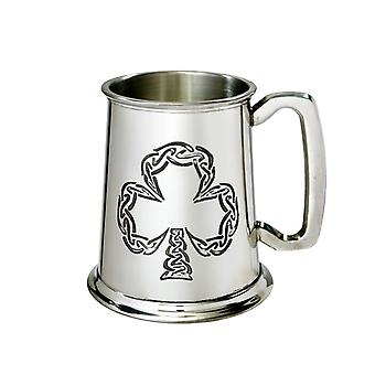 Irish Shamrock Embossed Pewter Tankard - 1 pint