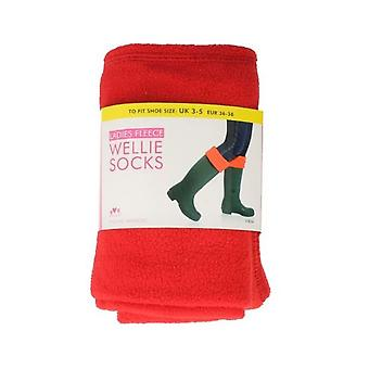 Red Ladies Rjm Fleece Wellie Socks The Style - Sk205Cdu