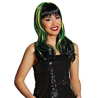 Melinda black pony wig ladies light green strands of curly hair accessory