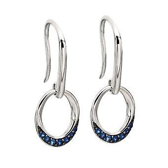Elements Gold Sapphire Open Circle Earrings - Blue/White Gold