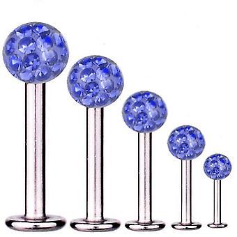 Labret Bar Tragus Piercing titanio 1.6 mm, Multi cristal bola azul zafiro