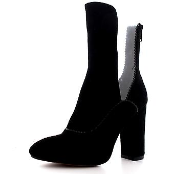 Womens Cut Out Transparent Fashion Pointed Toe Block Heel Ankle Boots UK 3-10