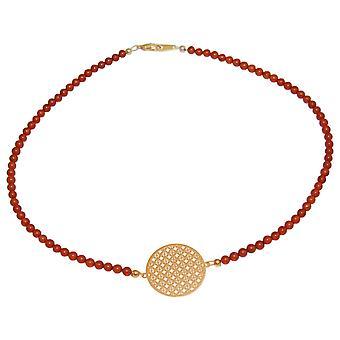 GEMSHINE halskjede choker: Yoga Mandala Amber. Sølv, gullbelagt, Rose