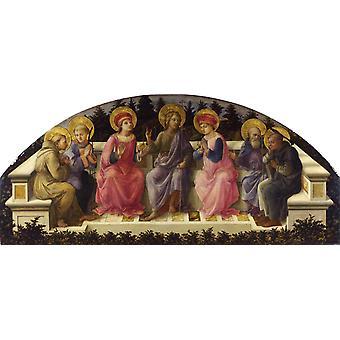 STS Francis, Lawrence, Cosmas or Damian, Fra Filippo Lippi, 100x44cm