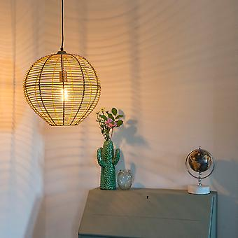 QAZQA Country Round Pendant Lamp 40cm Rattan with Brass Details - Ball Rattan