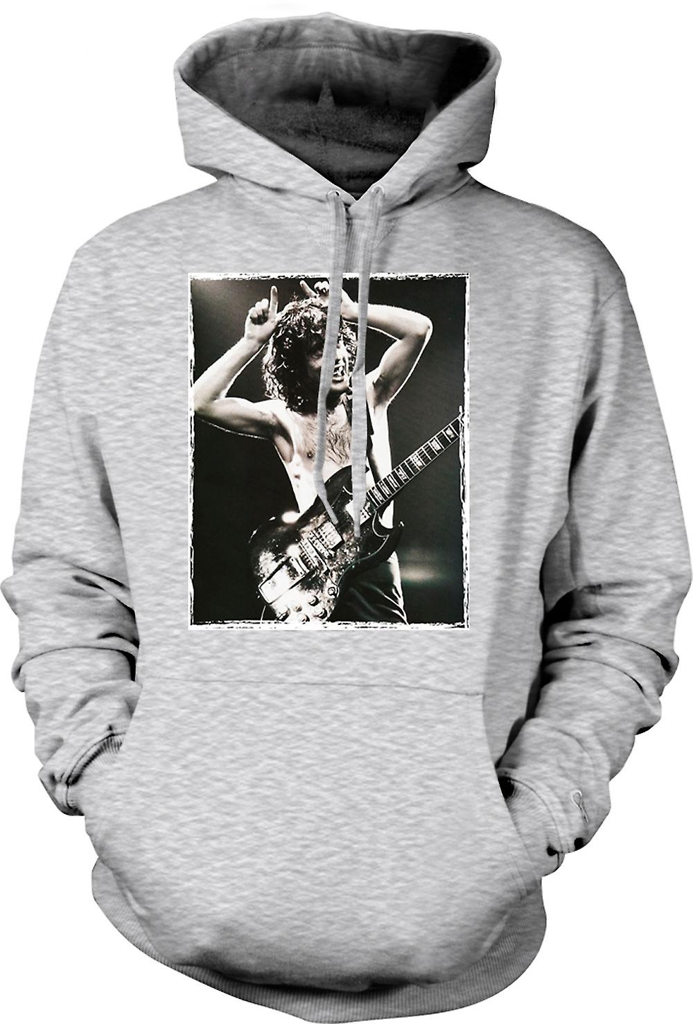 Mens Hoodie - AC/DC - Angus Young Portrait