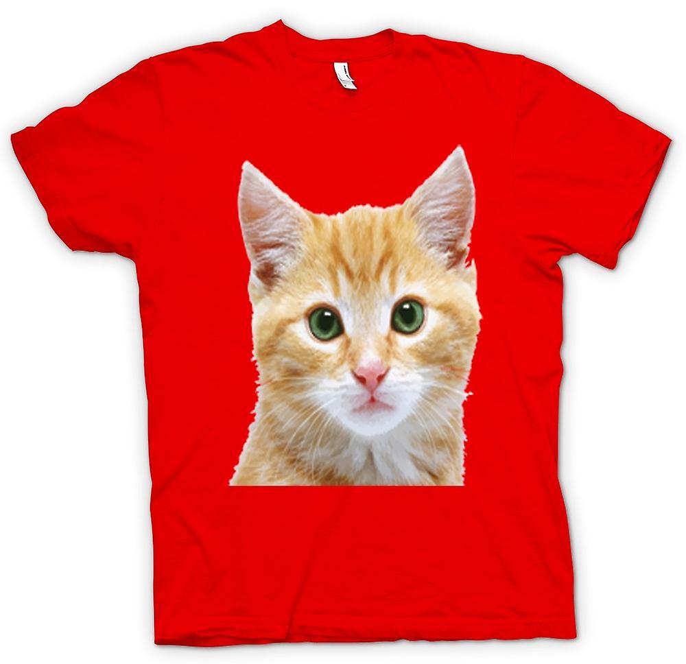Heren T-shirt-schattige rode Kitten gezicht portret