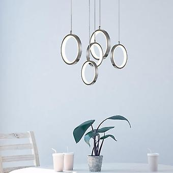 Plafond licht Pendant Lamp eettafel moderne nikkel 5 hanger ronde luifel verlichting