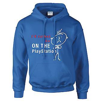 Mäns jag skulle hellre vara på Playstation Hoodie Royal blå Hoody