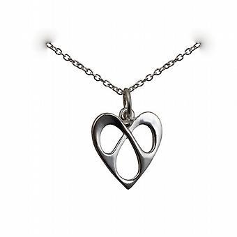 16x15mm prata entrelaçados pingente coração com um rolo corrente 24 polegadas