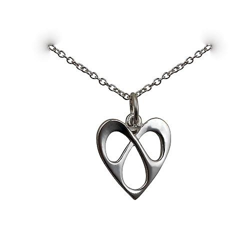 Silver 16x15mm entwined Heart Pendant with a rolo Chain 16 inches Only Suitable for Children