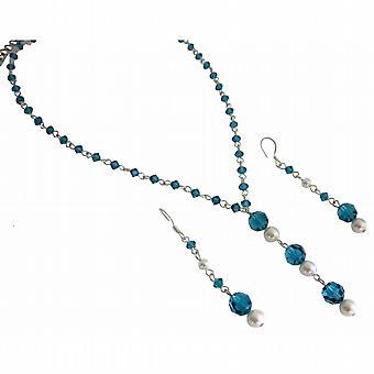 Handcrafted demoiselle Swarovski Indicolite & White Pearls Ensemble de bijoux