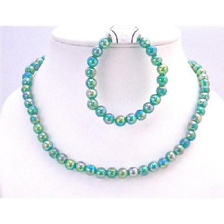 Girls Gift Jewelry Return Gift Dark Green Round Beads Affordable Price